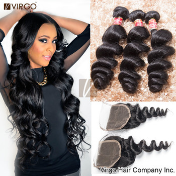 aliexpress peruvian virgin hair with closure loose wave 3 4pcs remy human hair weave