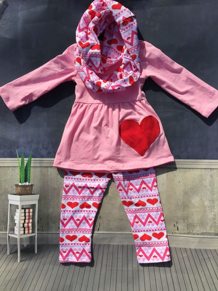 Hot Sale Baby 3pcs Clothes Girls Valentines Day Boutique