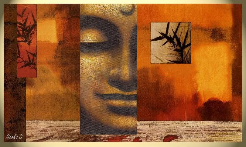 Modern Abstract Art Buddha Signed Canvas Oil Painting