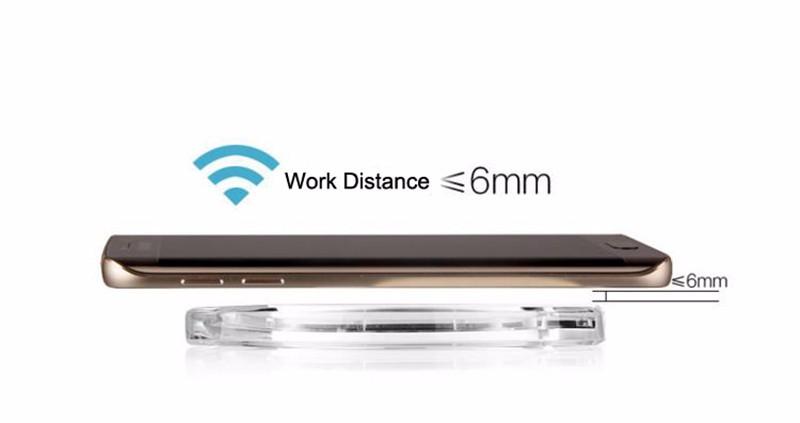 2016 החדשה עגול שקוף מטען אלחוטי רפידות 5V 1A עבור סמסונג S6 Edge בנוסף נקסוס 5 6 Yotaphone 2