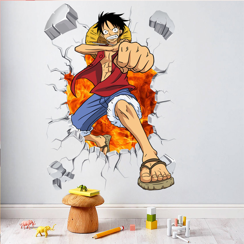 Gambar Monkey D Luffy 3d Cartoon One Piece Posters Anime Luffy 3d Effect Wall Stickers For
