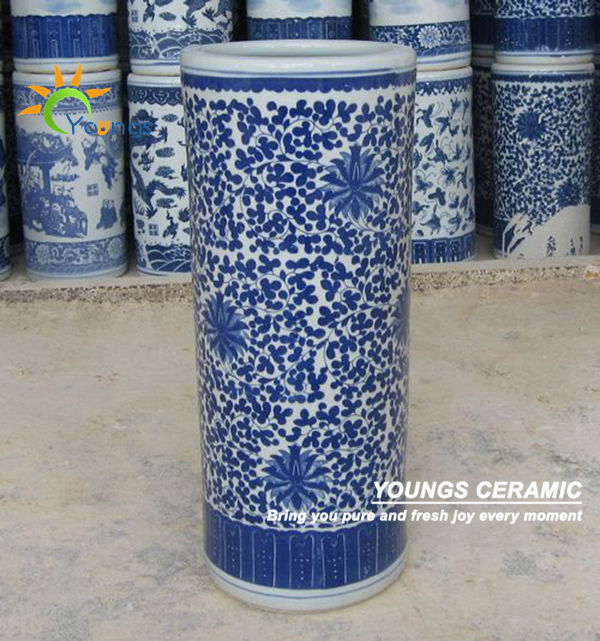 Varied Chinese Blue And White Ceramic Cylinder Umbrella Stands Vases Buy Umbrella Stands