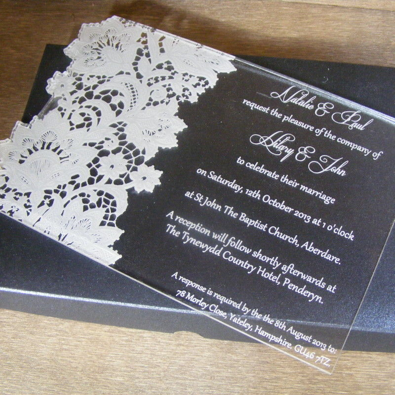 Lace Butterfly Personalised Acrylic Wedding Invitation