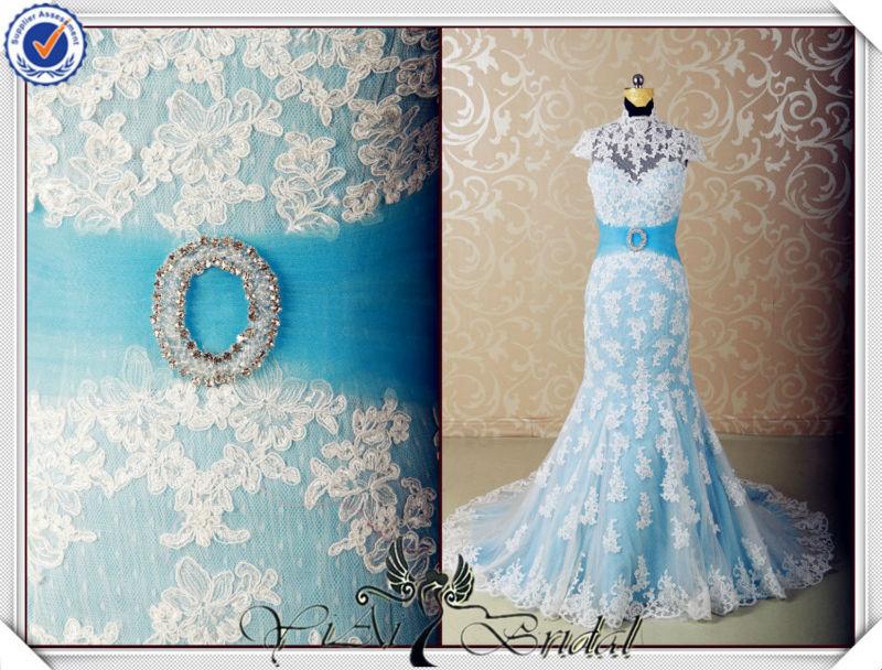 JJ3555 Halter Luz Azul E Branco Do Vestido De Casamento