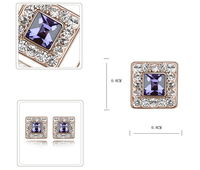 Austrian Crystal Stud Earrings Women Fashion Jewelry High Quality Rose Gold Plated Crystal from Swarovski Earrings Square *4387