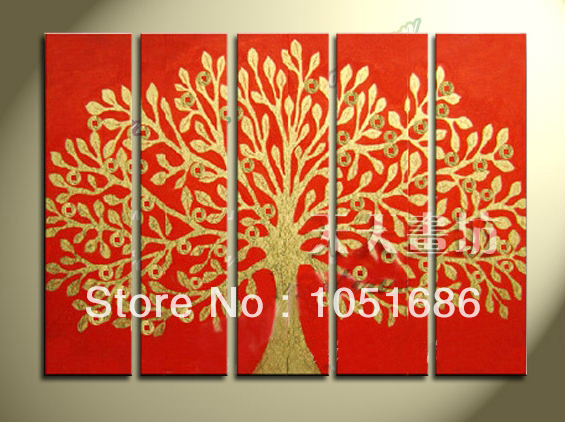HandPainted Asia Style Modern Gold Abstract Tree Painting