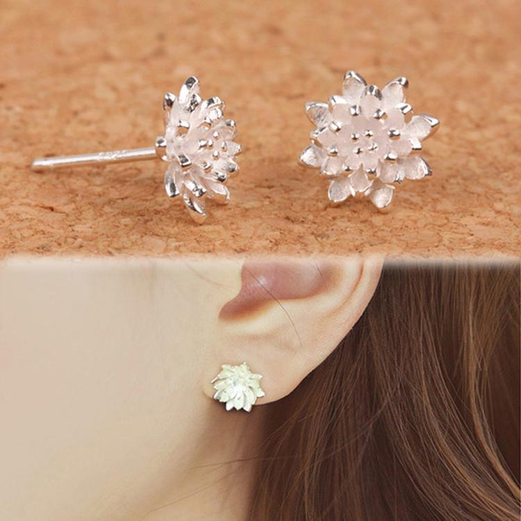 2015 Cute Female Handmade Jewellery Women's 925 Sliver Lotus Flower Ear Stud Earrings Free Shipping EAR-0585