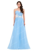 Cheap Long Evening Dresses Grace Karin 6107 Strapless Robe Soiree Chiffon Beaded Formal Evening Gown(China (Mainland))