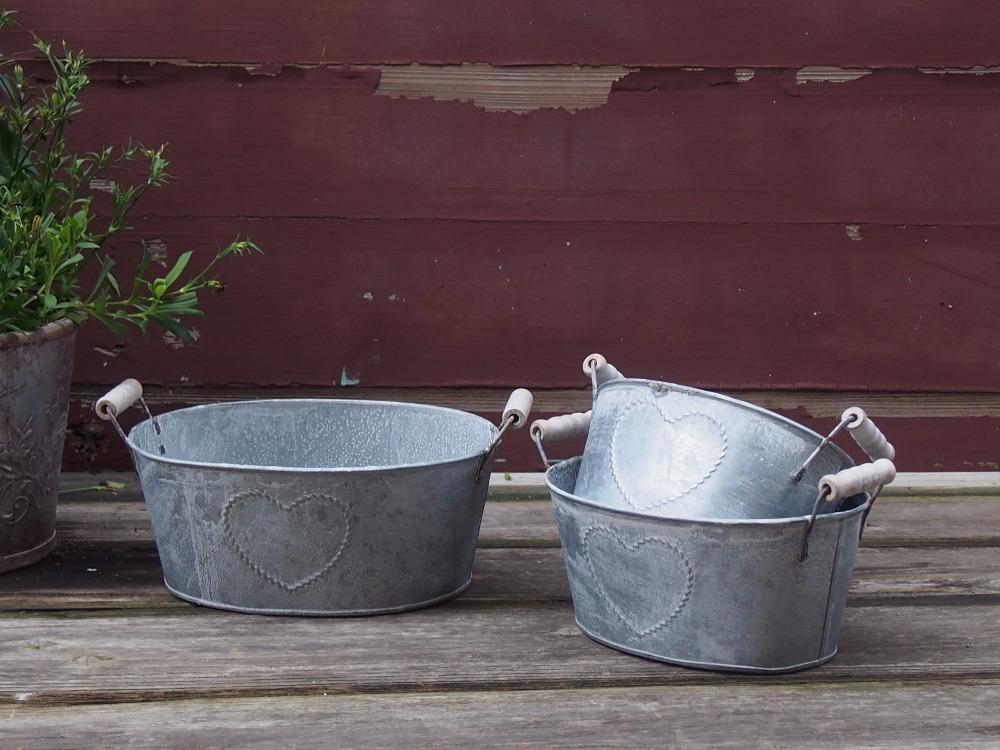 S/3 Zinc Planter Metal Flowr Pot Zinc Flower Pots Zinc Pot