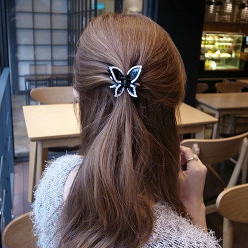 TOP Qyality New Coffee Black Plastic Rhinestone Hair