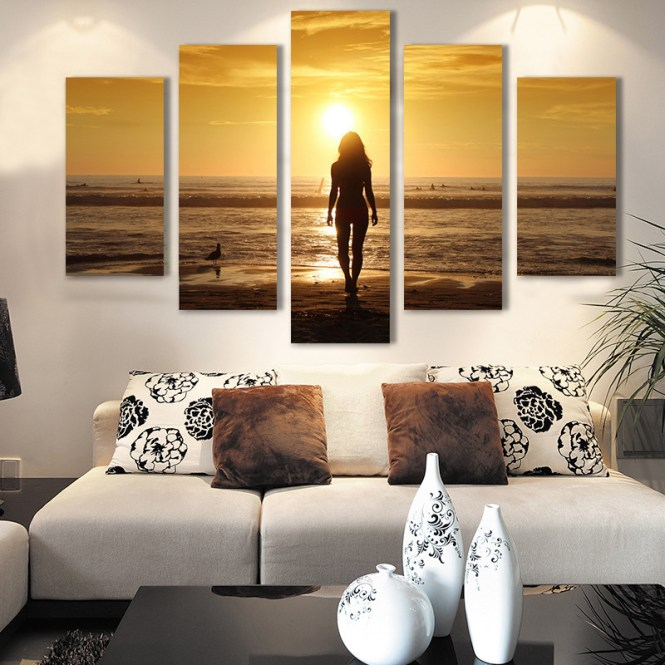 Modern Living Room Bedroom Wall Decor Home Y Sunset Seascape Canvas Art