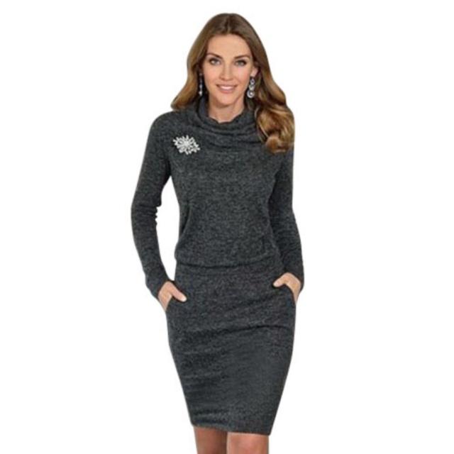 Женщины Дамы Длинным Рукавом Короткий Свитер Dress Тонкий Пуловер Перемычка TQ