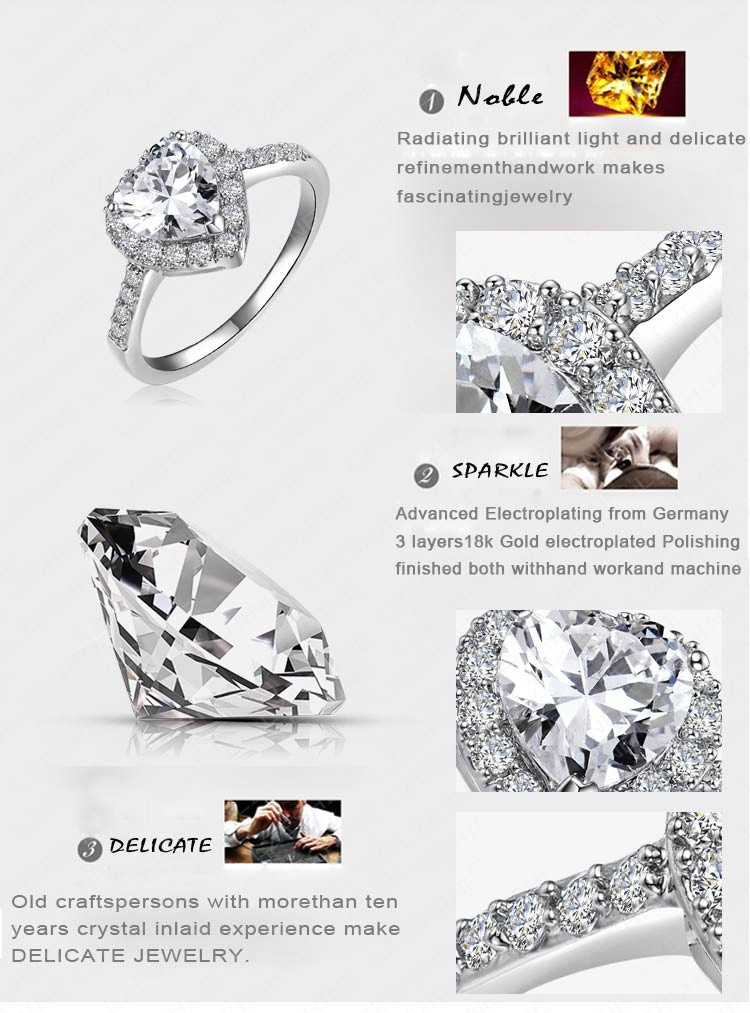 LZESHINE 2016 Christmas Loving Heart Rings Rose Gold/Silver Color Micro Inlay Zircon Fashion Rings For Lady Anelli CRI0004