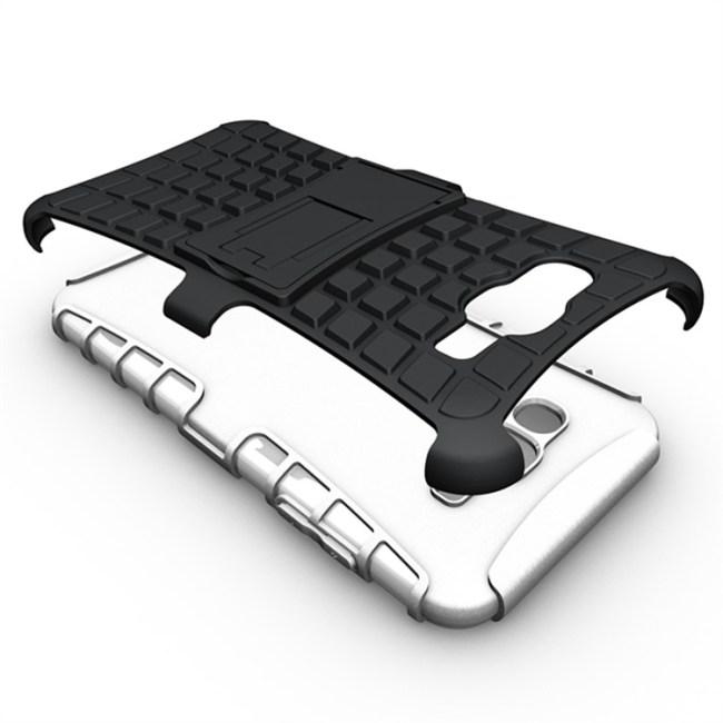 עבור Samsung J-7 שכבה כפולה שריון חסין זעזועים סיליקון עם רגלית כיסוי החלקה, פלסטיק, עור מקרה כיסוי עבור Samsung Galaxy J-7 #