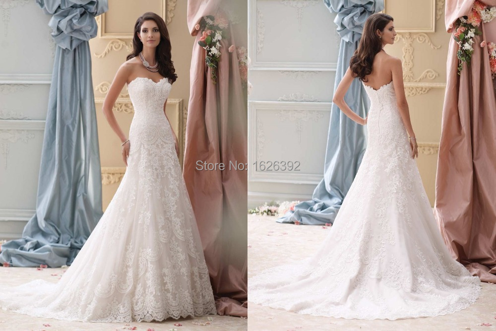 Stunning Fit And Flare Romantic Lace Wedding Dresses A