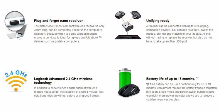 100% Original Logitech Wireless Mouse M545 Souris Sans Fil 2 4Ghz