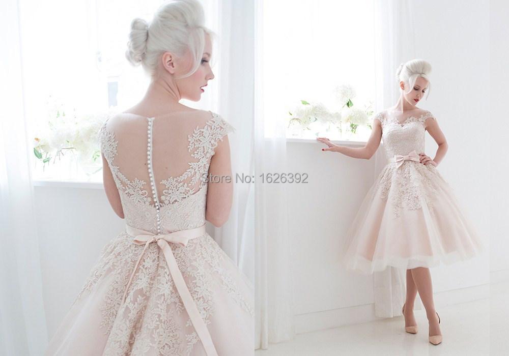 2015 Elegant Pink Short Wedding Dresses Tea Length Lace