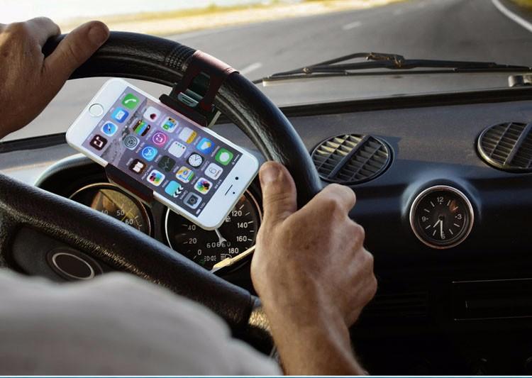המכונית גלגל ההגה שקע הטלפון מחזיק גומי מחזיק רכב הר אוניברסלי לטלפון נייד בעל