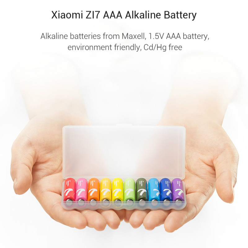 10PCSLot XIAOMI ZMI ZI7 AAA Alkaline Battery Rainbow Disposable Batteries Kit for Camera Mouse Keyboard Controller Toys xiom H0 (15)