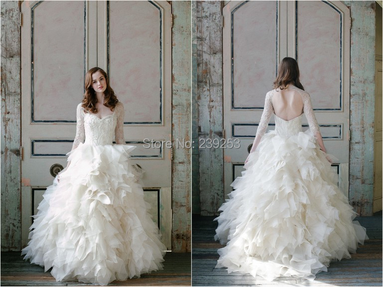 2015 Fabulous Lace Beading Puffy Ball Gown Long Sleeve