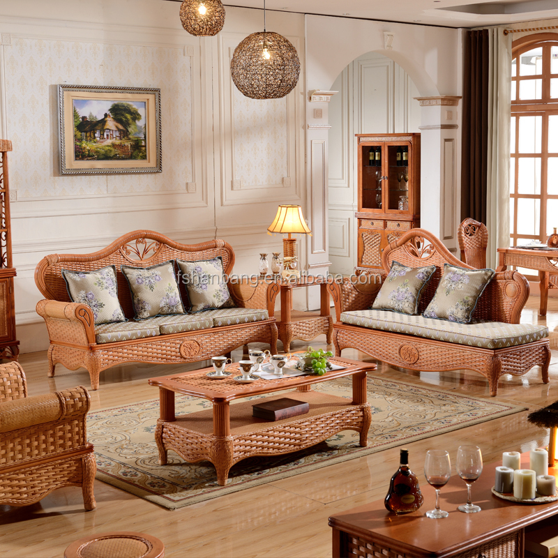 2015 High Quality Indoor Bamboo Cane 123 Sofa Sets Vintage Rattan     1 jpg