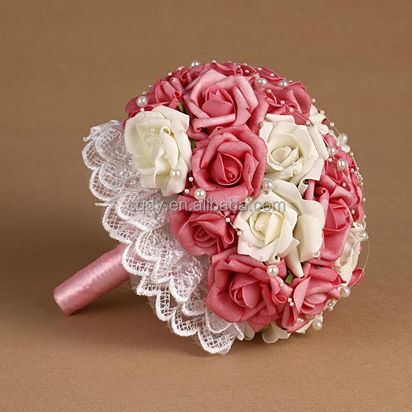 2015 Amour Romantique Bouquet De Fleurs Rose Artificielle