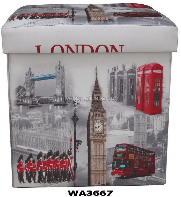 London Design En Cuir Pliant De Rangement Pouffe Repose