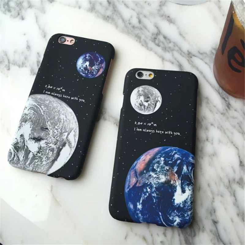 יפה ירח קוסמי כוכבים רומנטיקה המאהב Coque סלים מט פלסטיק קשיח טלפון המקרים כיסוי עבור iPhone 7 7Plus 5 5 6 6 5.5 6Plus