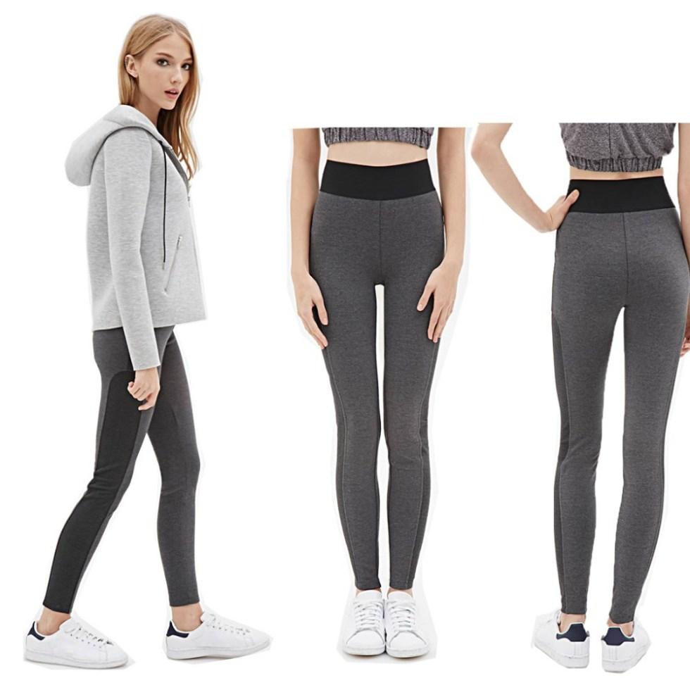 High Waist Stretched Yomsong Women Sport Pants Black Gray ...