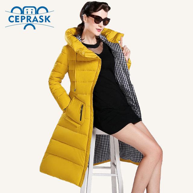 CEPRASK 2016 Новые Зимняя Куртка Женщин Плюс Размер Длинные Модные женские Зимние Пальто С Капюшоном Высокое Качество Теплый Пуховик куртка