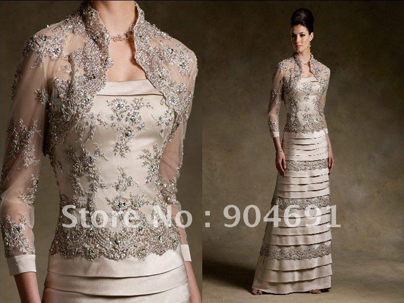 A Line Lace Satin Mother Of The Bride Dress Long Sleeves
