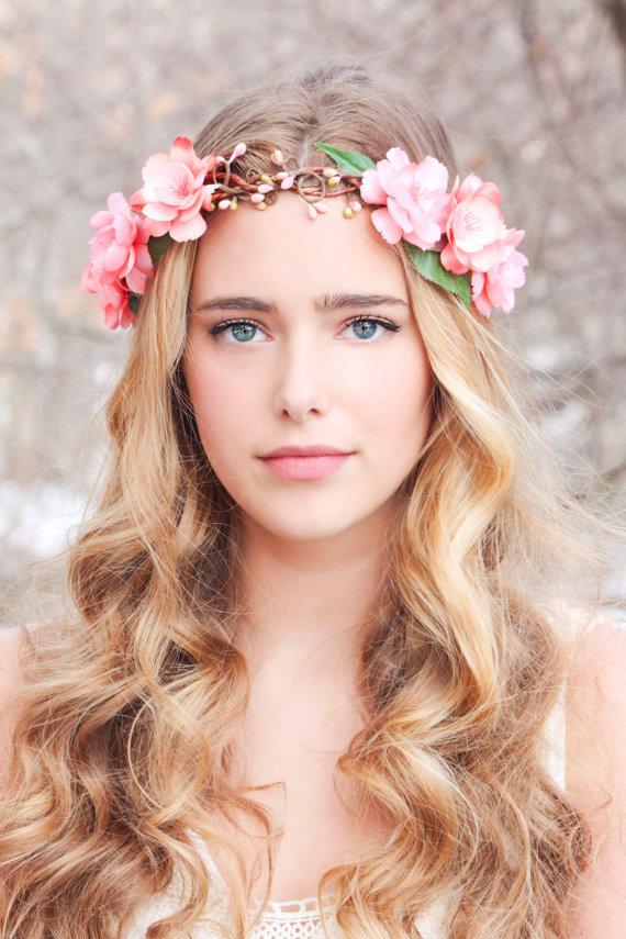 Peachy Floral Hair Crown Woodland Flower Crown Bridal