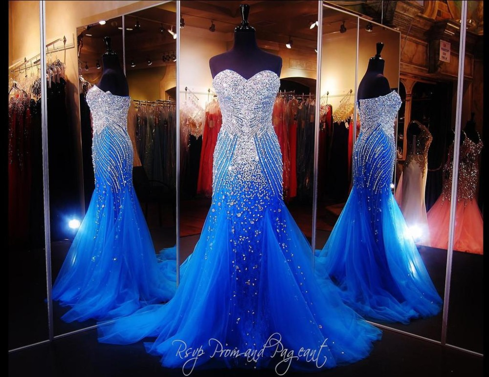 Mermaid Prom Dresses 2015 Blue Sexy Heavy Crystals