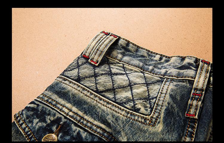 LetsKeep 2017 New patchwork Denim jeans for men biker skinny ripped jeans punk mens plaid Designer jeans pants clothing, MA356