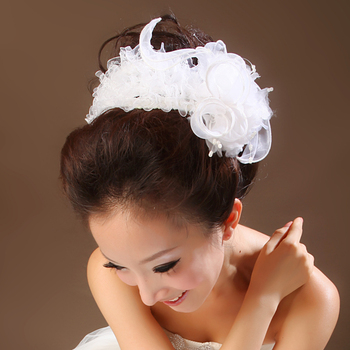 2015 elegant white lace bridal headdress hair accessories hair band wedding photography garland