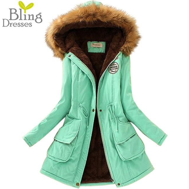 Теплая Зима Пальто Женщин Меховой Воротник Пальто женские Длинные Вниз Куртка Плюс Размер Толстовки Парки Классические Куртки Женщина Мода флис