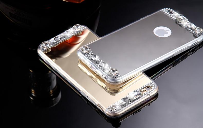 נצנצים יהלום במראה מקרה עבור iPhone 6 6 7 7 פלוס 5 5 SE 6 פלוס 6S Plus המקרים עבור iPhone 7 דק TPU בלינג אקריליק הכיסוי האחורי.
