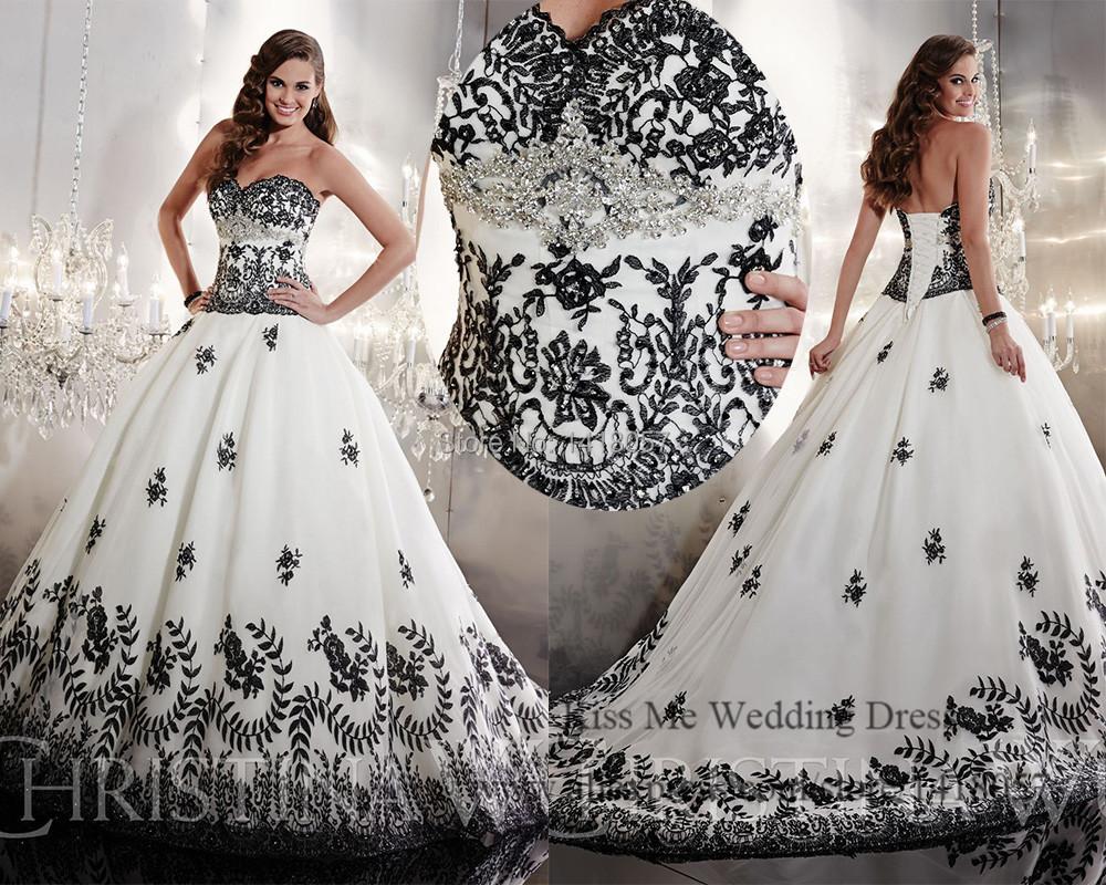 Embellished White And Black Wedding Dress 2015 Princess