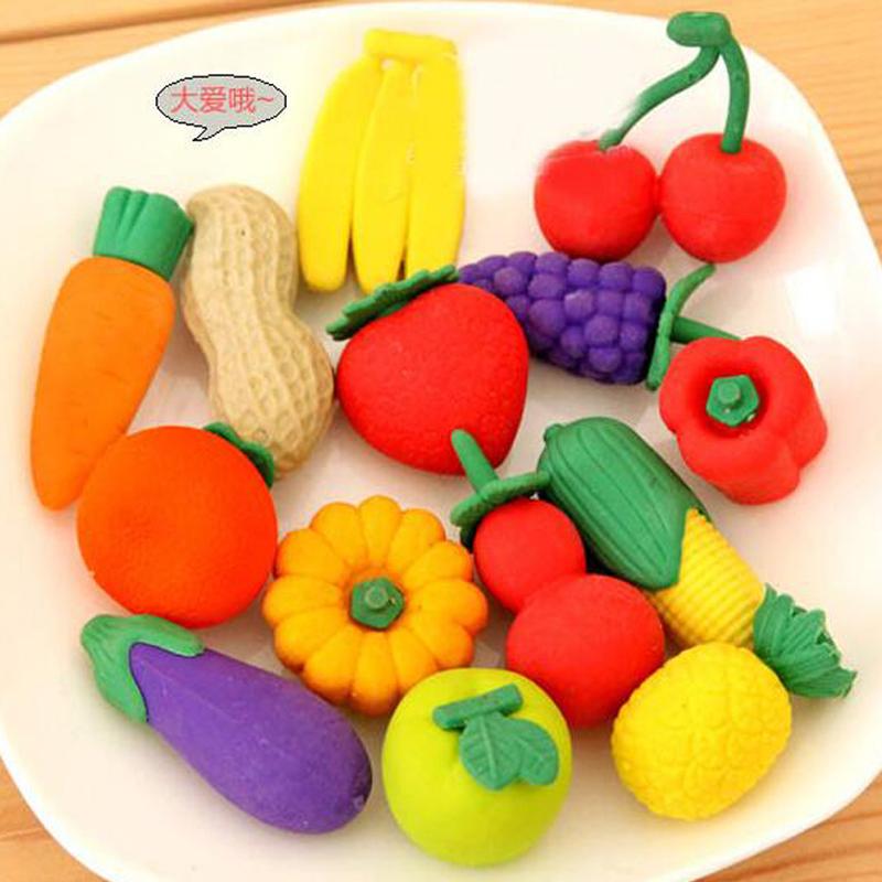 50pcslot Fruits And Vegetables Eraser Valentines Day