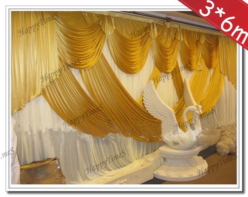 acheter toile de fond de rideau de mariage blanc avec dore rideaux 3m de haut 6m de large fond de decorations de mariage tissu de soie de glace de 91 03 du
