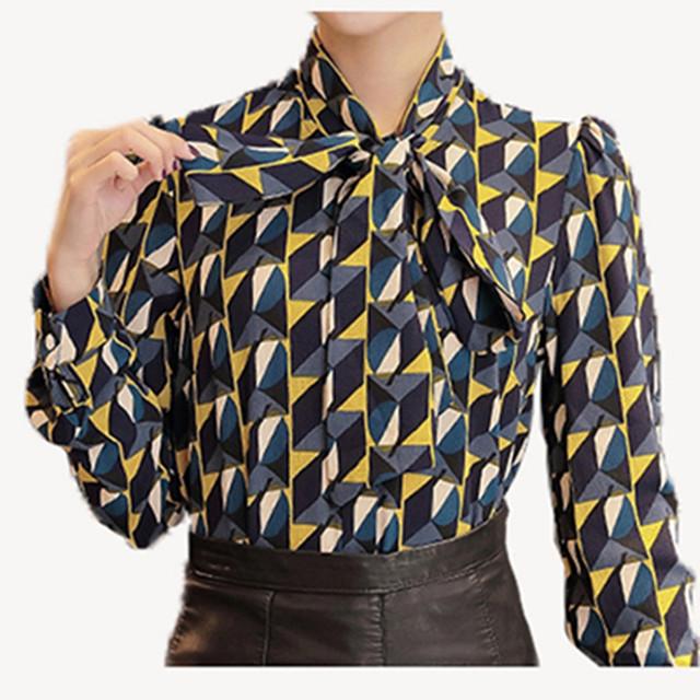 Новый Рабочая Одежда Офисная Одежда 2016 Рубашка Женщины Топы Желтый Цветочные Галстук-Бабочку Pattern Геометрические Печати Блузка Женская Одежда Осень T65628R