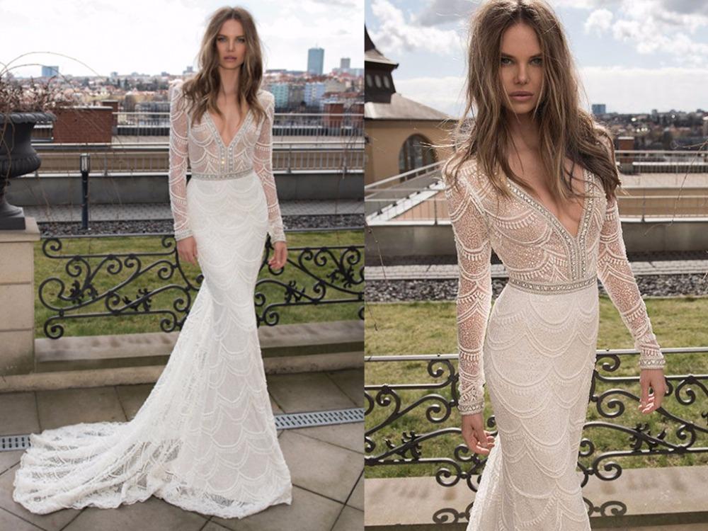 Custom Made Lace Mermaid Wedding Dresses 2015 Long Sleeves