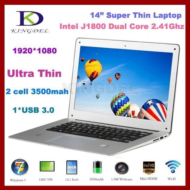 2016 Новый Портативный Компьютер, ультрабук с Intel Celeron J1800 Двухъядерный 2.41-2.58 ГГц, 4 ГБ ОПЕРАТИВНОЙ ПАМЯТИ, 500 ГБ HDD, USB 3.0, HDMI,