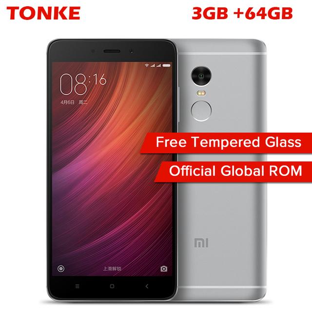 """Original Xiaomi Redmi Note 4 3GB RAM 64GB ROM Mobile Phone MTK Helio X20 Deca Core 5.5"""" FHD 4100mAh Fingerprint ID 13MP Camera"""