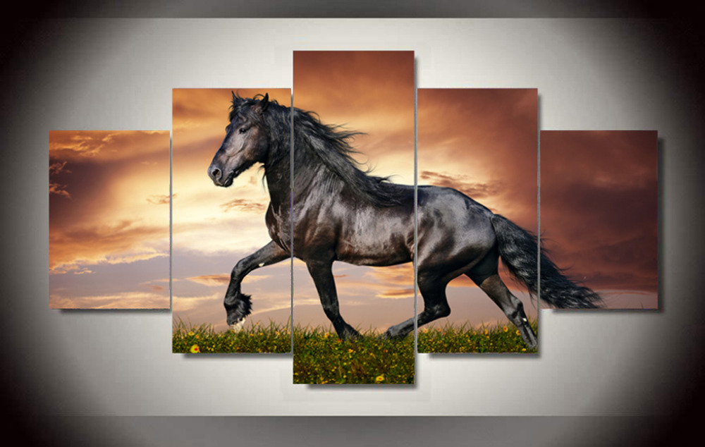 5 Panels Canvas Print Black Horse Painting On Canvas Wall