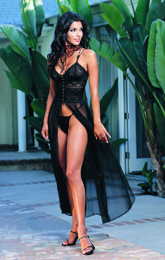 Hot sell! Black Sexy Lingerie Evening long Dress, Gotic style Thong Underwear Night Gown Free Shippingq-38