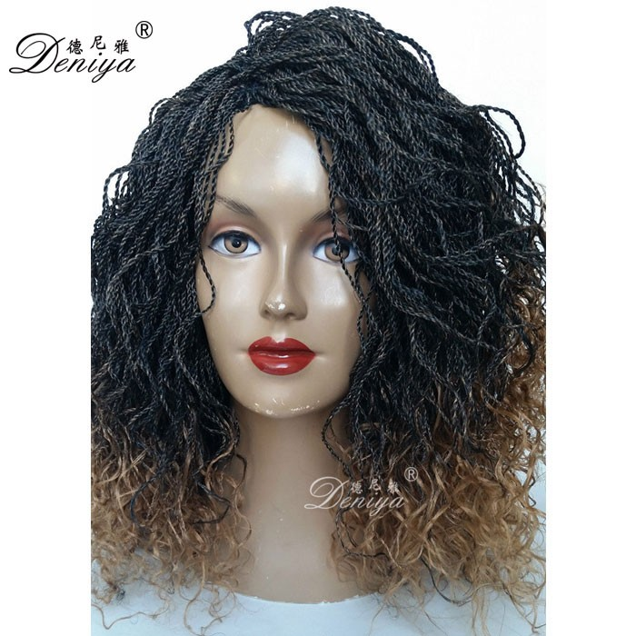 Pre Twisted Hair Senegalese Kinky Twist Braided Lace Wig