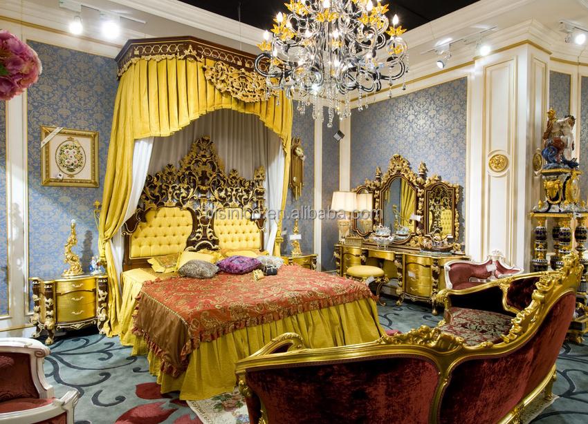 European Classical Luxury Bedroom Set Wooden Hand Carving