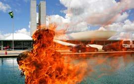 Manifestantes queimam Bush