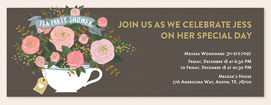 Fl Tea Cup Shower Invitation Free